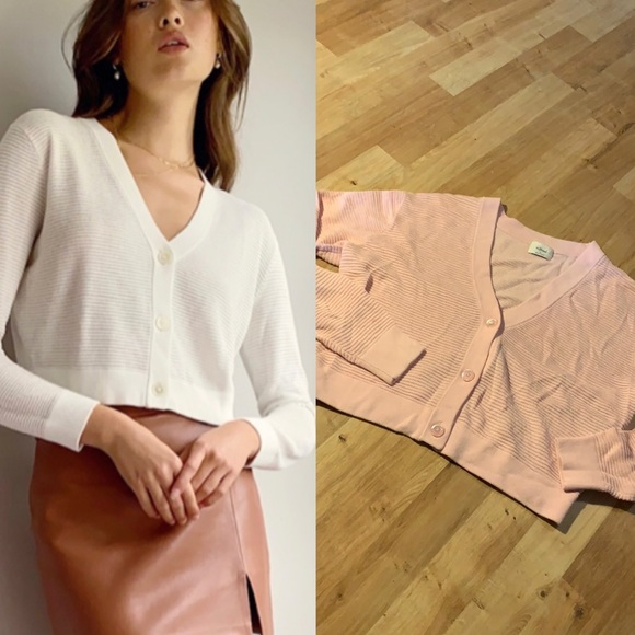 Wilfred light cropped cardigan sz s pink